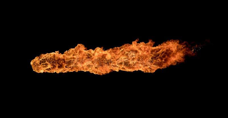 火发火焰在黑背景的纹理 图库摄影