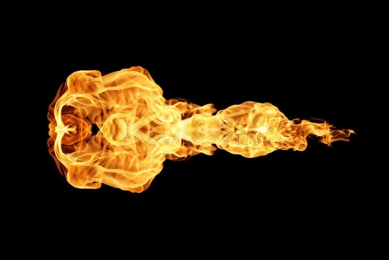 火发火焰在黑色隔绝的收藏 免版税图库摄影