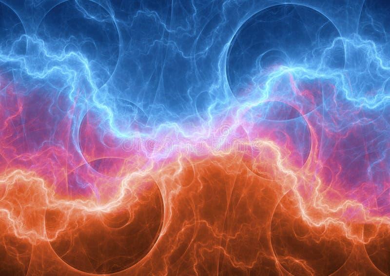 火和冰等离子电子闪电 库存照片
