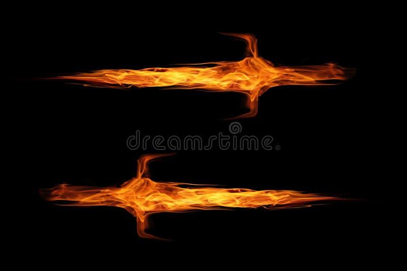 火在黑色隔绝的火焰剑 免版税库存照片