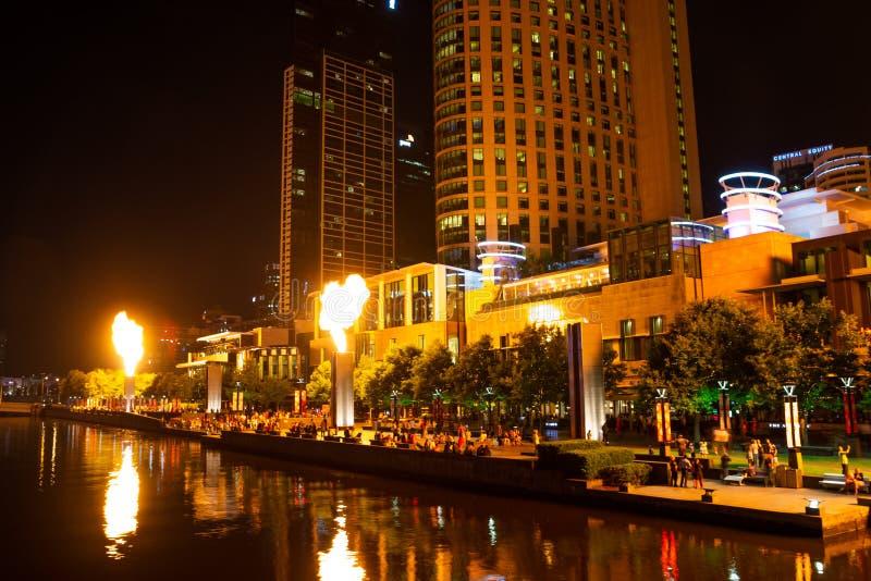 火展示在城市 库存照片