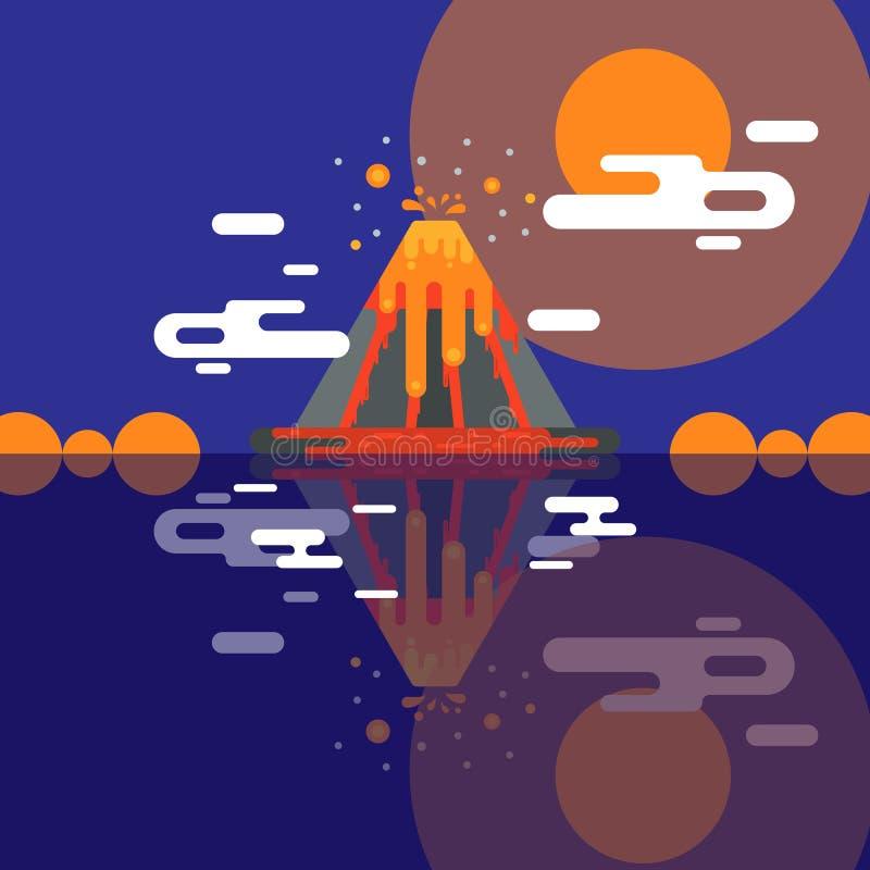 火山传染媒介爆发和自然火山作用或爆炸抽风火山在山例证背景 库存例证