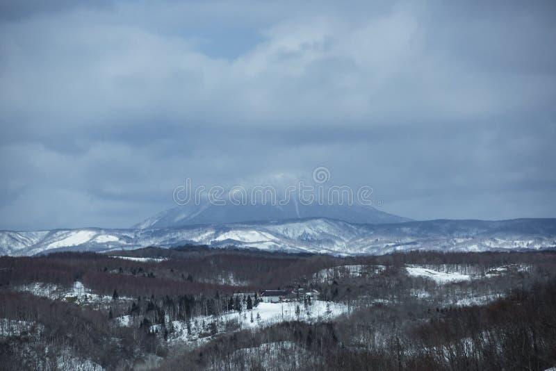火山冬天场面,日本 图库摄影