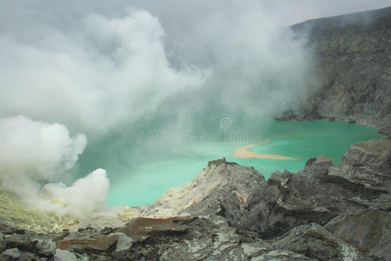 火山口东部ijen印度尼西亚Java kawah 图库摄影