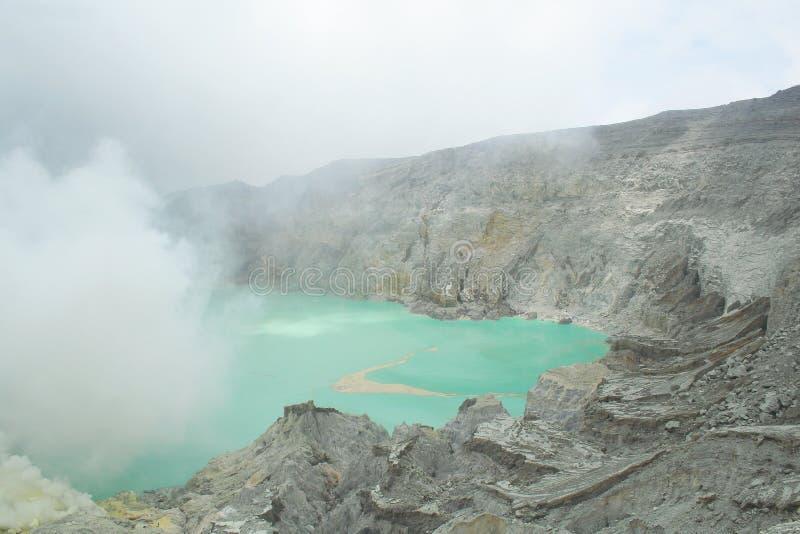 火山口东部ijen印度尼西亚Java kawah 免版税库存照片