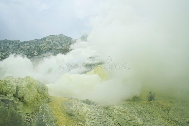火山口东部ijen Java kawah 免版税库存图片