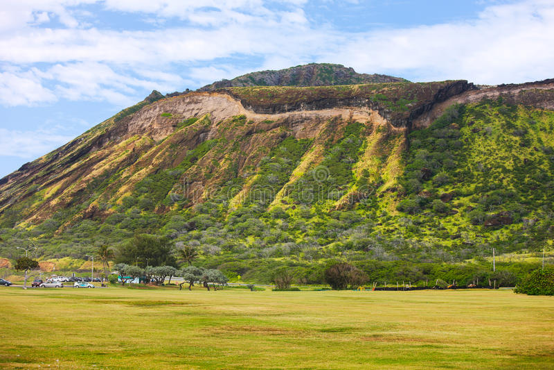 火山口夏威夷koko奥阿胡岛 库存照片