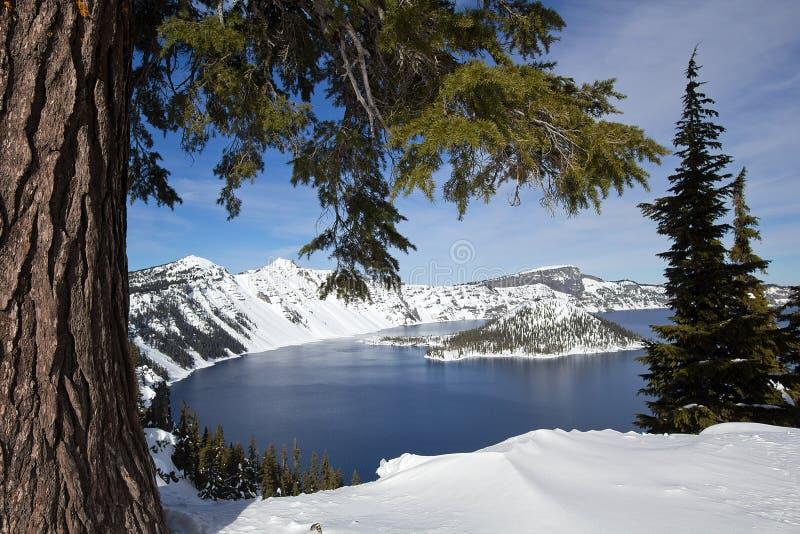 火山口湖俄勒冈scape风景雪 免版税库存图片