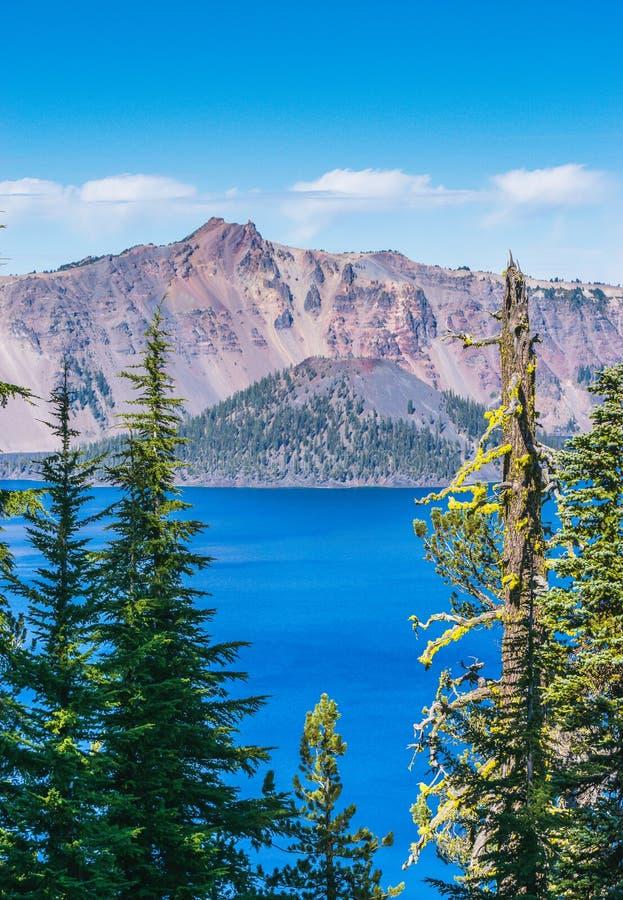 火山口湖国家公园在晴天,俄勒冈,美国风景看法  图库摄影