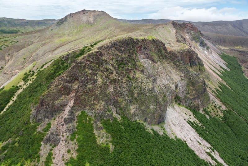 破火山口火山克苏达奇火山 南堪察加自然公园 库存图片