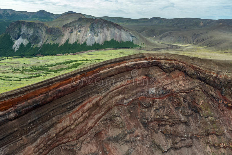 破火山口火山克苏达奇火山 南堪察加自然公园 库存照片