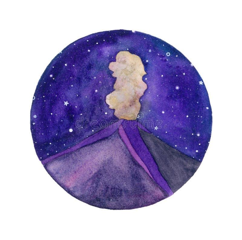 火山和繁星之夜水彩例证 库存例证