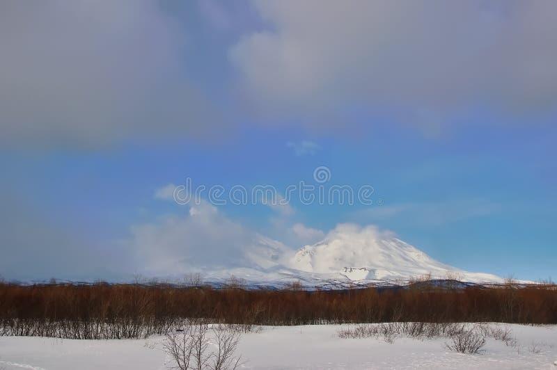 火山在俄国 库存照片