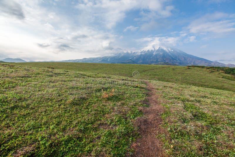 火山堪察加半岛的普洛斯基火山扎尔巴奇克火山  免版税库存照片