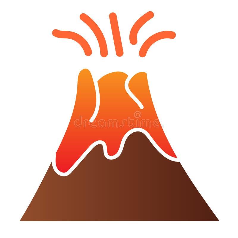 火山平面图标 Magma erupting color icons in trendy flat style 自然渐变风格设计,专为Web和 皇族释放例证