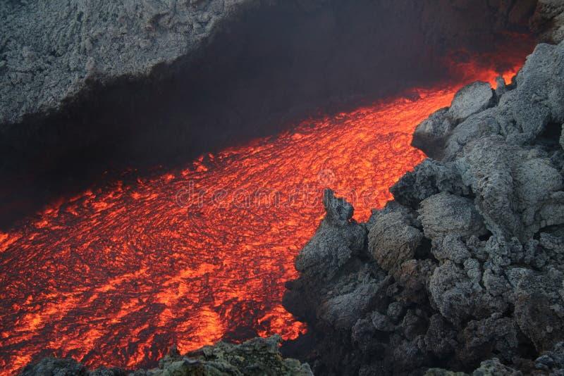 火山流的熔岩 免版税库存照片