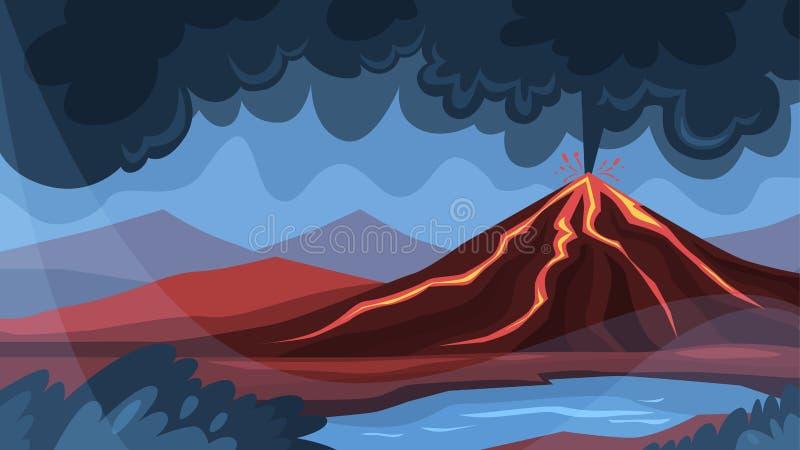 火山爆发概念 在地面上的熔岩爆炸 向量例证