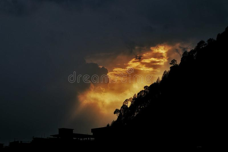 火山的天空 库存照片