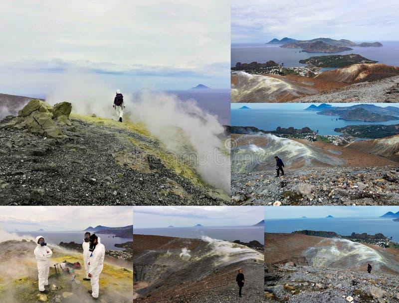火山的火山口和利帕里岛海岛的看法从武尔卡诺岛海岛的顶端,意大利的火山 免版税图库摄影