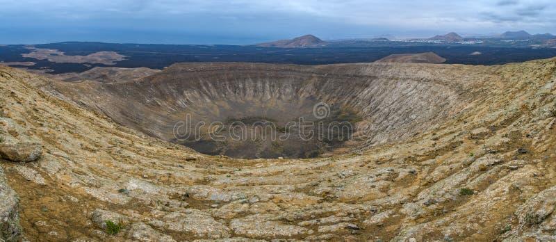 火山的火山口,Timanfaya国立公园,兰萨罗特岛,西班牙 库存图片