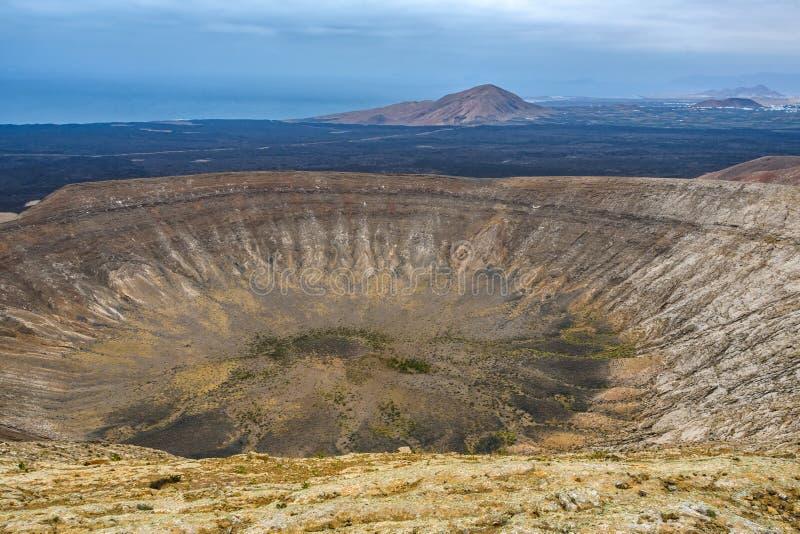 火山的火山口,Timanfaya国立公园,兰萨罗特岛,西班牙 免版税库存照片