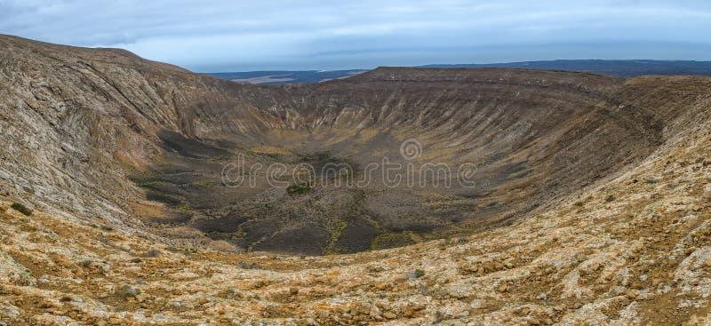 火山的火山口,Timanfaya国立公园,兰萨罗特岛,西班牙 免版税库存图片