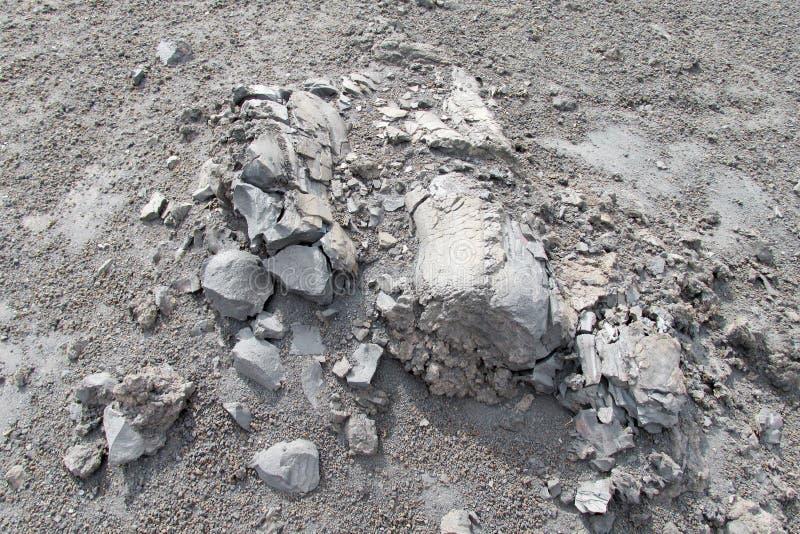 火山的灰色结冰的熔岩 库存照片
