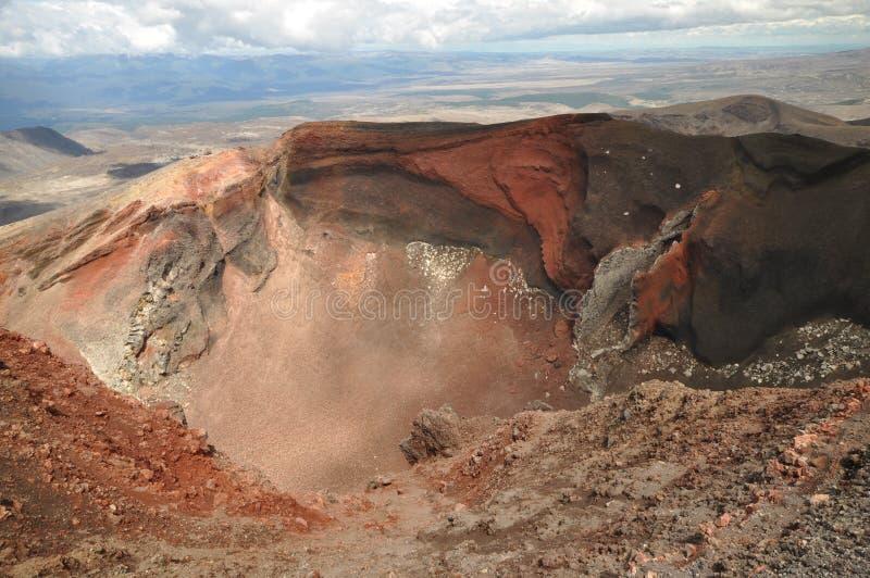 火山的红色火山口。Tongariro横穿 免版税库存照片