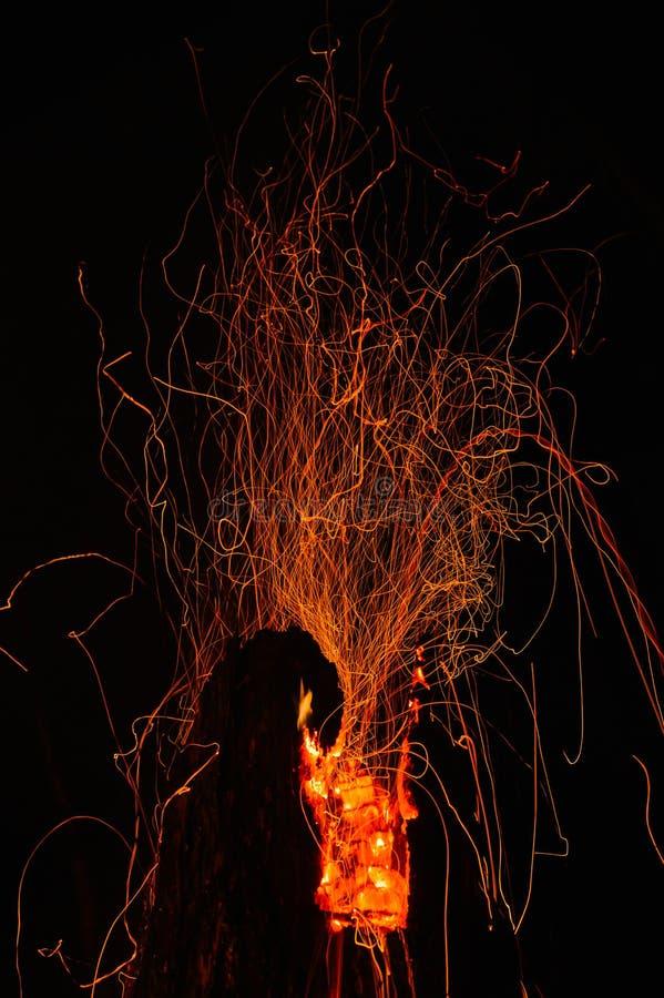 火山的野火 库存照片