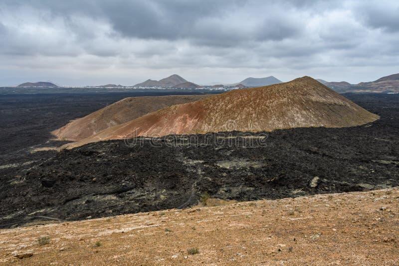 火山的锥体,Timanfaya国立公园,兰萨罗特岛,西班牙 库存图片