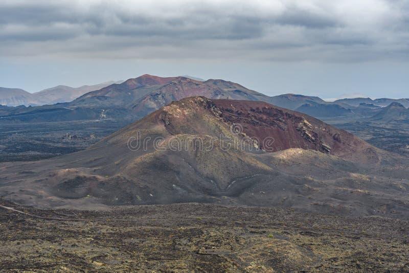 火山的锥体,Timanfaya国立公园,兰萨罗特岛,西班牙 免版税图库摄影
