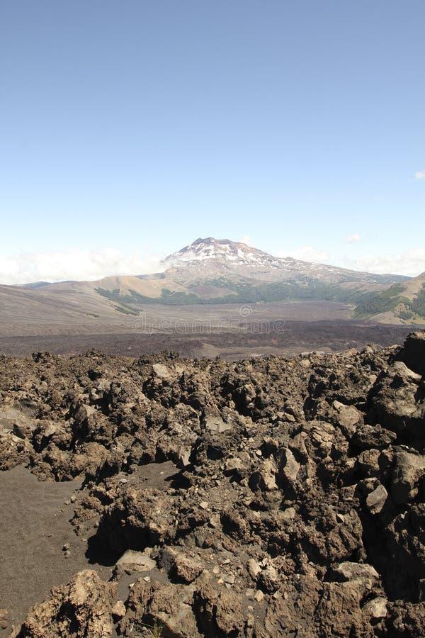 火山的风景在南智利 图库摄影