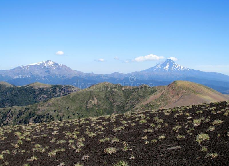 火山的风景在智利 库存图片