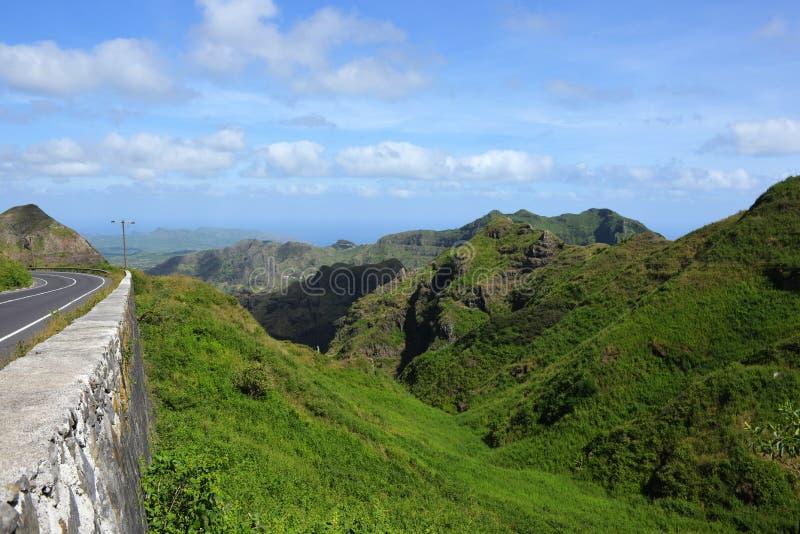 火山的风景-山脉Malagueta,佛得角,圣地亚哥海岛 库存照片