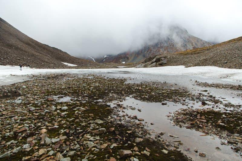 火山,雾斯诺伊马戏在Vachkazhetz,堪察加半岛,俄罗斯 免版税库存照片