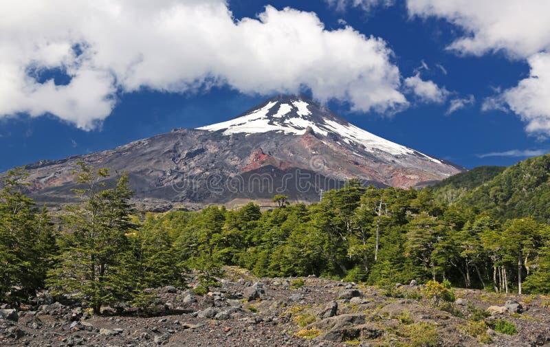 火山维利亚里卡火山-智利 库存照片