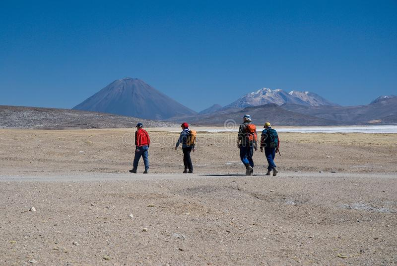火山El Misti和火山Nevado Chachani 免版税库存照片