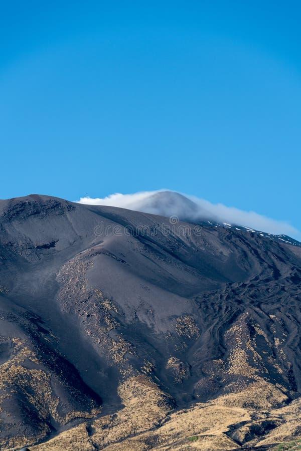 火山Etna,西西里岛,意大利的山顶 免版税库存照片