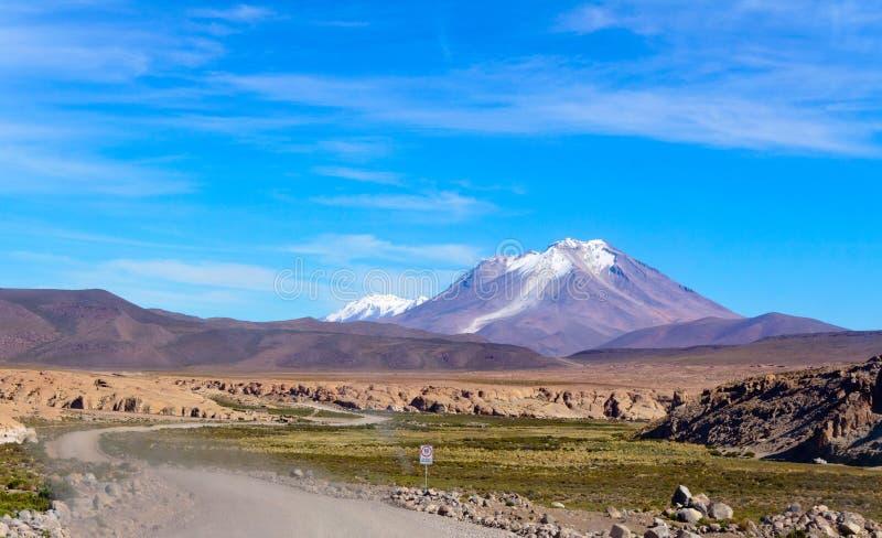 火山Ollague, Altiplano,玻利维亚 库存图片
