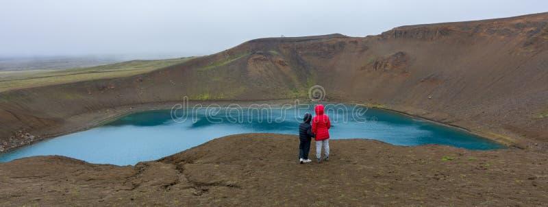 火山Viti火山口在北部冰岛 库存图片