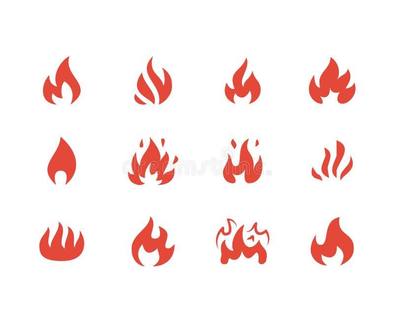 火平的纵的沟纹象 发火焰形状剪影,篝火传染媒介例证,易燃的警报信号,红颜色 向量例证