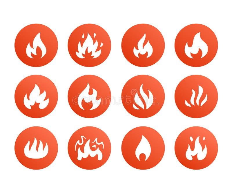 火平的纵的沟纹象 发火焰形状剪影,篝火传染媒介例证,易燃的警报信号,红颜色 皇族释放例证