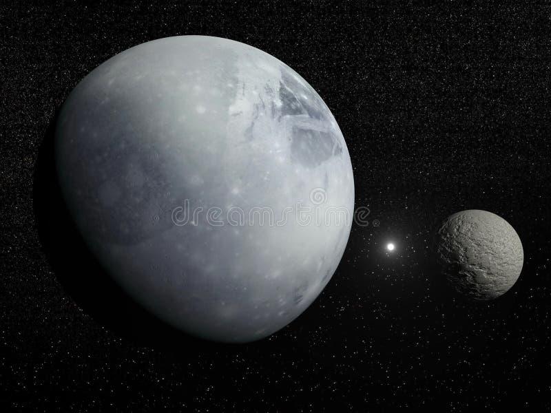 火成岩、冥卫一和北极星星- 3D回报 皇族释放例证