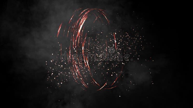 火数字螺旋 与烟装饰的和覆盖物的现实作用对黑背景 库存图片