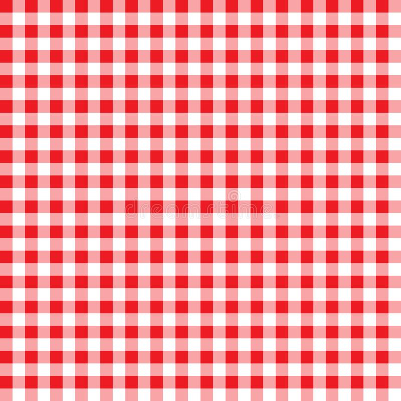 火方格花布样式 织地不很细红色和白色格子花呢披肩背景 桌布背景红色无缝的样式 样式为 向量例证