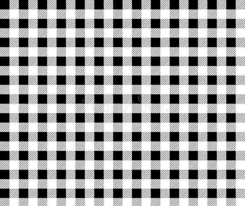 火方格花布样式 织地不很细黑白格子花呢披肩背景 桌布背景黑无缝的样式 伐木工人 库存例证