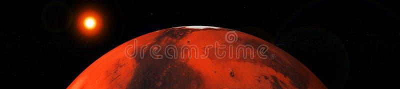 火星和地球,太阳系的行星 向量例证