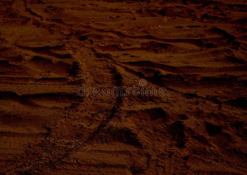 火星的日落火星行星红色风景 看起来火星的冷的沙漠 库存照片