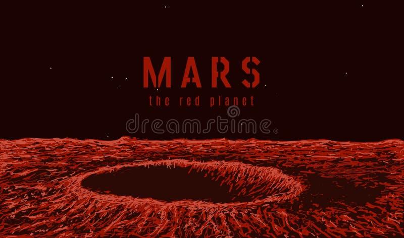 火星的表面上的看法 向量例证