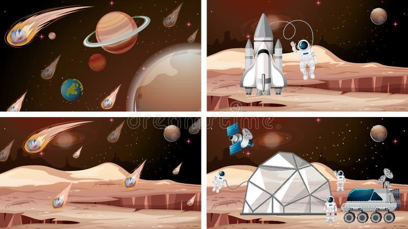 火星空间场景集 库存例证